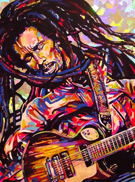 The Indies celebrates the 70th Birthday of Bob Marley (painting by Shawn Voelker)