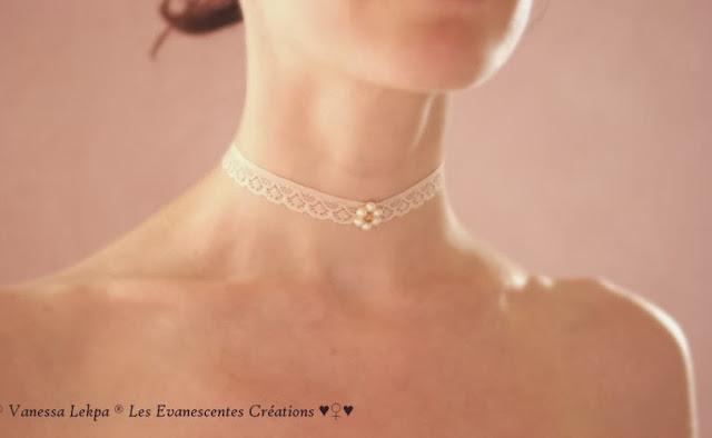 bijoux mariage collier ras de cou en dentelle de calais ivoire fleur de cristal perles véritable modèle unique de créateur made in france pièce unique