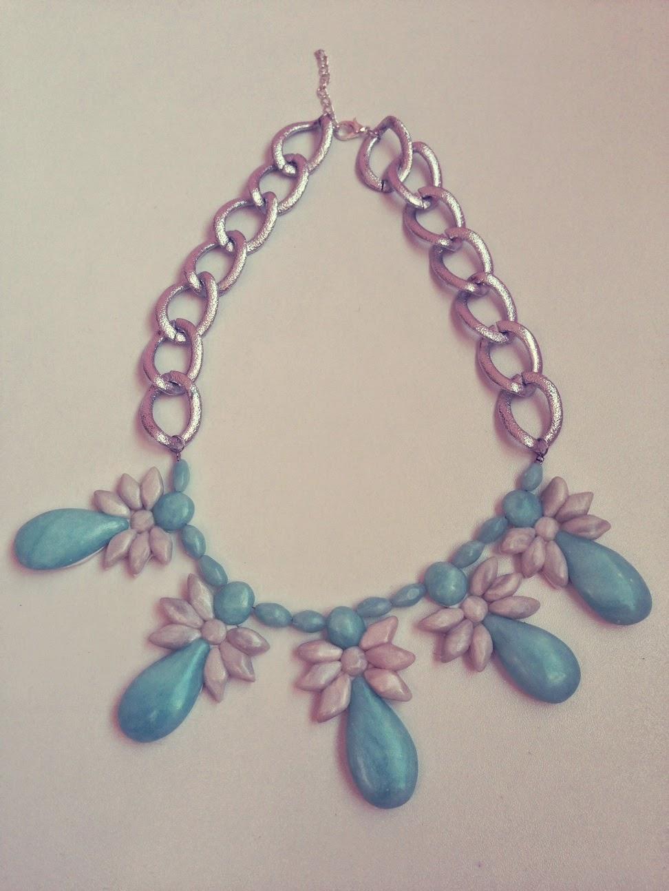 Collar Motivos Florales Efecto Cuarzo Azul NM Designs