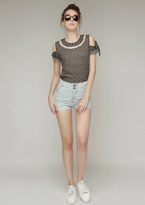 High Waisted Button Denim Shorts