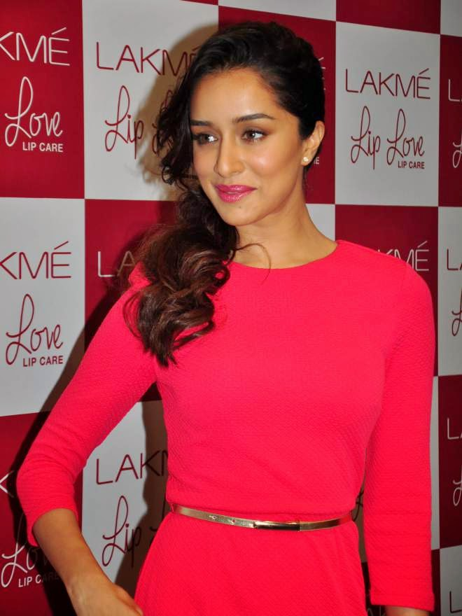 Shraddha Kapoor Photos In Pink Skirt At Lakme Lip Love Care Launch