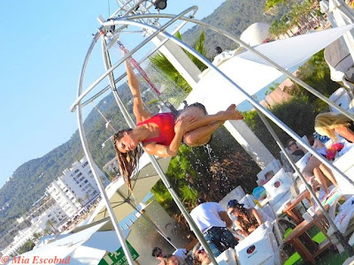 Water Babe Acrobat routine at Ocean Beach Ibiza