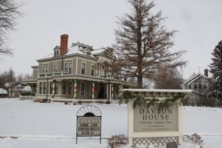 photo of exterior of Dayton House at Christmas