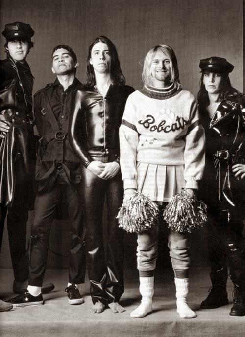 Nirvana 1993 promo shoot Krist Novoselic, Pat Smear, Dave Grohl, Kurt Cobain, Melora Creger
