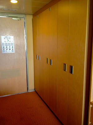 All three closets in the superior suite on Holland America Noordam