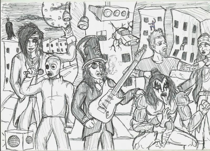 Desenho de vários roqueiros famosos juntos