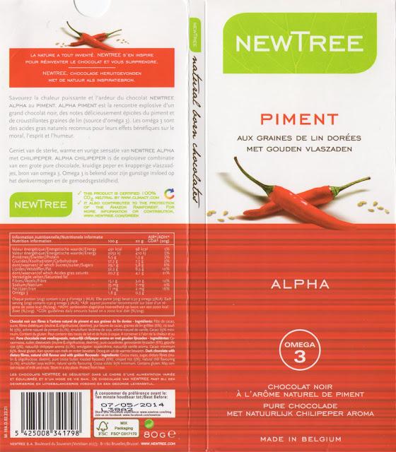 tablette de chocolat noir gourmand newtree piment aux graines de lin dorées alpha
