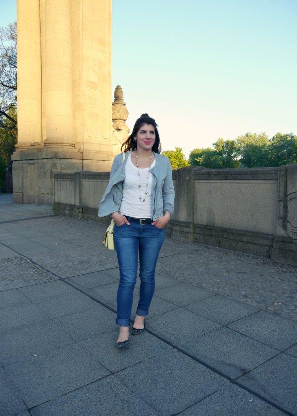 Jeans mit Biker Jacke un Ballerinas