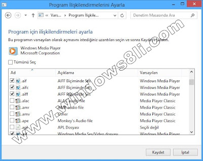 Windows 8 Varsayılan Programlar
