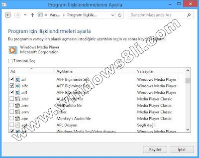 Windows 8 Varsayılan Programlar