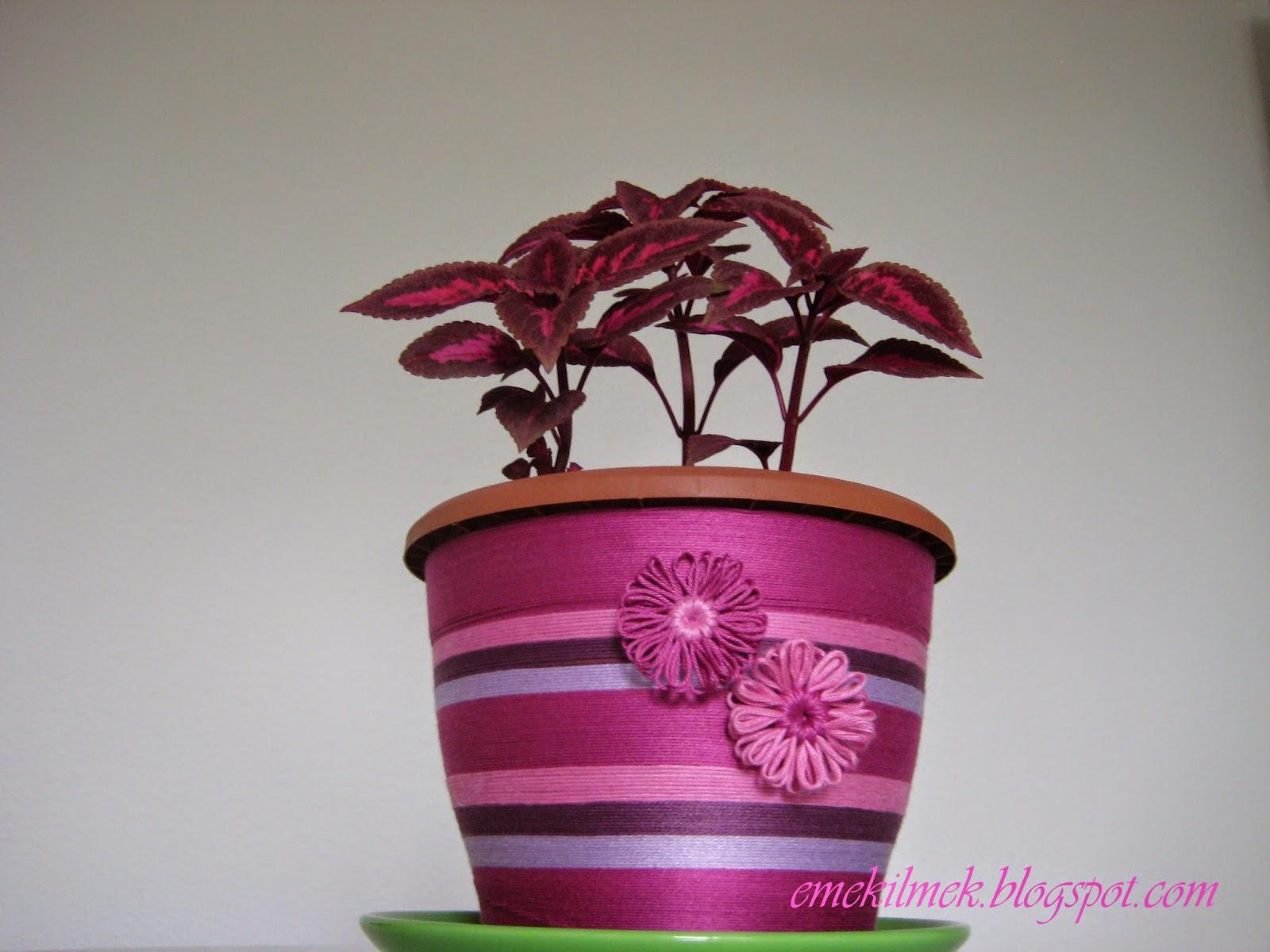 süslü çiçek saksısı
