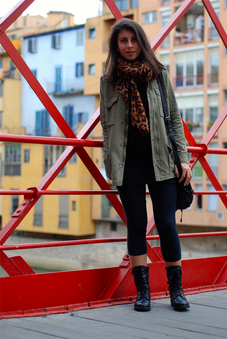 grunge style, streetstyle,fashion blogger, leopard shawl,jacket,army boots,fashion,black, green,outfits,trendydolap.blogspot