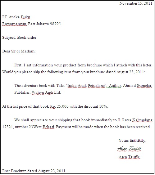 Annaas Pamungkas  Order Letter Of English Business Letter