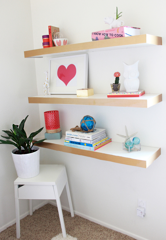 a bubbly life diy ikea hack floating shelves color block. Black Bedroom Furniture Sets. Home Design Ideas