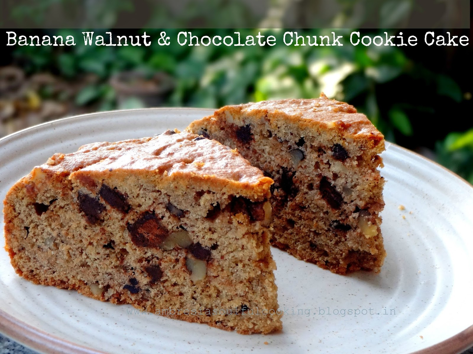 AMBROSIA: Banana Walnut & Chocolate Cookie Cake - Wholegrain and Egg ...