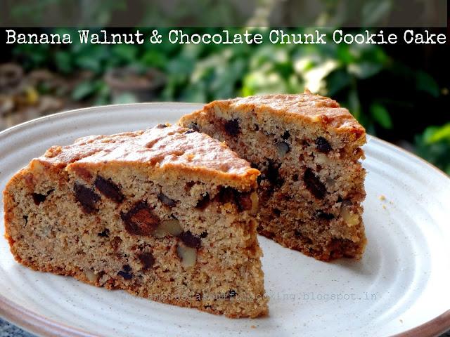 Banana Walnut & Chocolate Cookie Cake - Wholegrain and Egg less