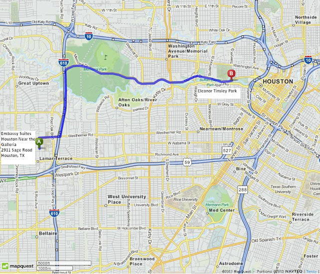 Eleanor Tinsley Park is 7 miles/14 minutes from Embassy Suites Houston Near the Galleria