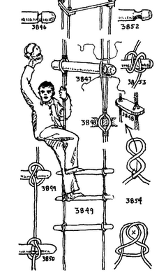 Rope ladder for going to masthead