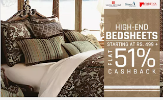 Paytm  : Buy BedSheets Extra 51% Cashback on Rs. 499 only