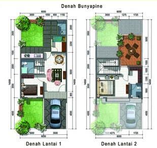 Denah rumah minimalis 2 lantai tipe 45