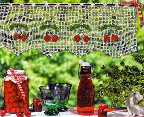 Cortinas De Baño Tejidas Al Crochet:Decoramos el hogar con motivos de guindas o cerezas, mira también