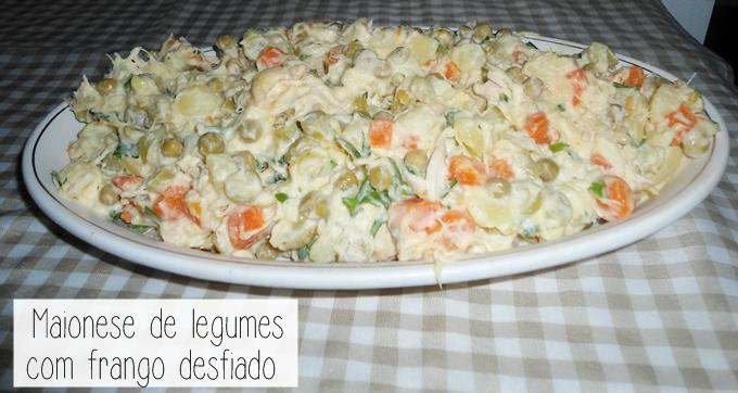 maionese de legumes com frango desfiado