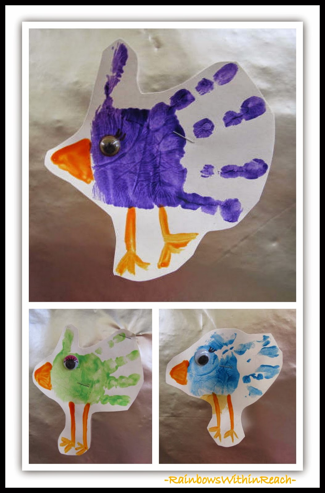 Painted Hands as Birds {Hand Print RoundUP at RainbowsWithinReach}