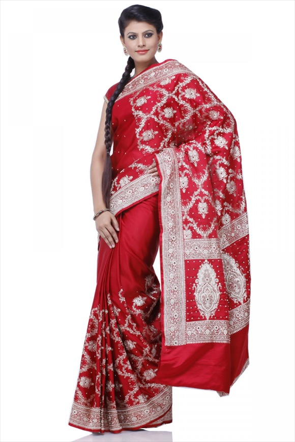 Cardinal Red Satin Banarasi Saree