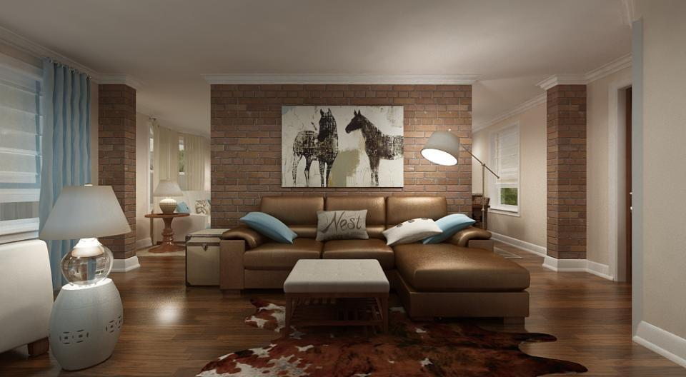 Diseño de sala con revestimiento en piedra naranja, ordenada a modo