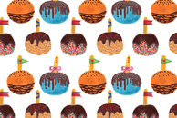 Candy Apple Watercolor Pattern by Haidi Shabrina