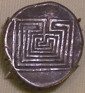 Silver Coin from Knossos showing the Labyrinth
