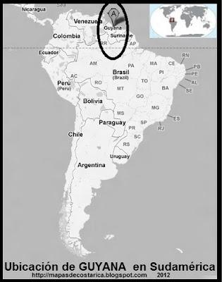 Ubicación de GUYANA en Sudamérica, Google Maps, blanco y negro