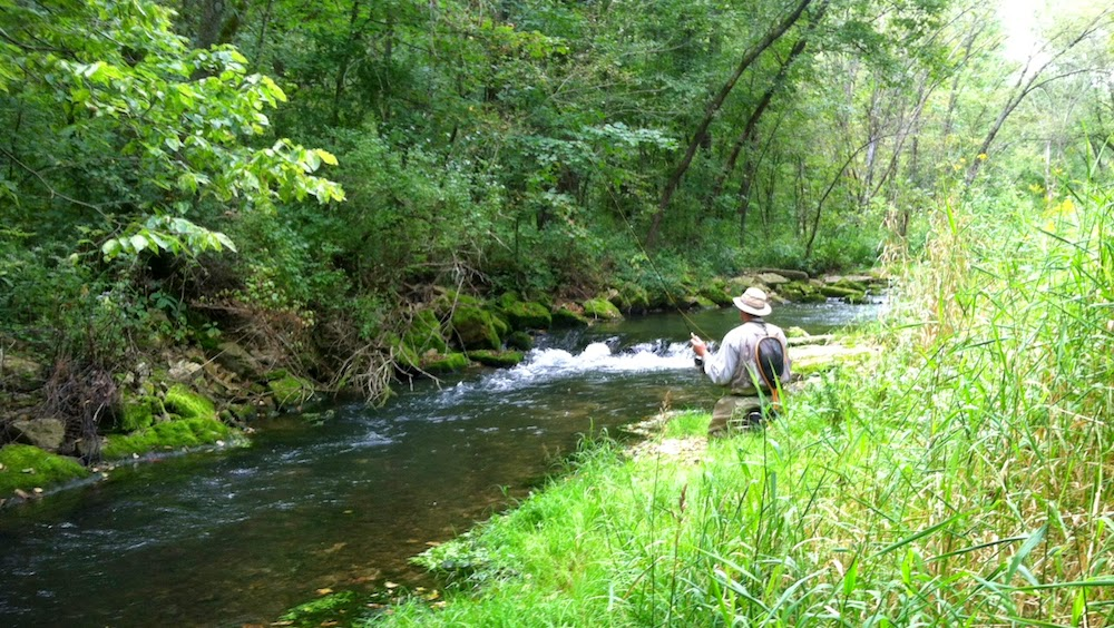 Practicing stealth on a small trout stream in Southeast Minnesota.