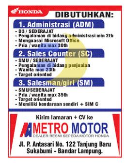 Karir Kerja di Metro Motor Lampung