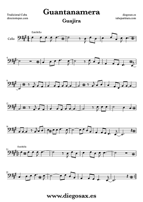Tubepartitura Guantanamera Partitura Popular para Violonchelo Guajira Tradicional Cubana