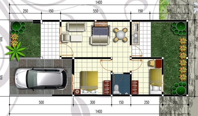 30 gambar macam denah rumah type 45 minimalis modern