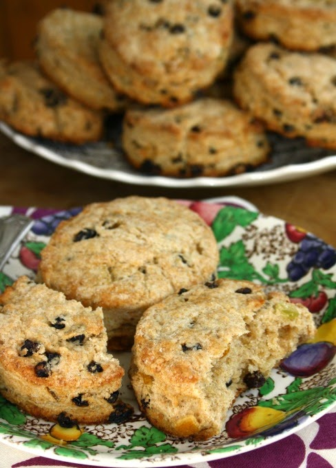 Currant fruit buns: an old fashioned scone that's mildly sweet and flakey.