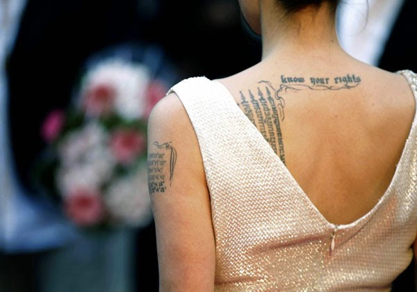 angelina jolie tattoos on arms