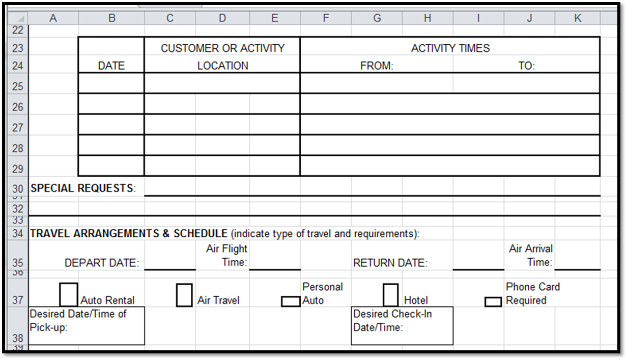 excel spreadsheets help travel authorization request form template. Black Bedroom Furniture Sets. Home Design Ideas