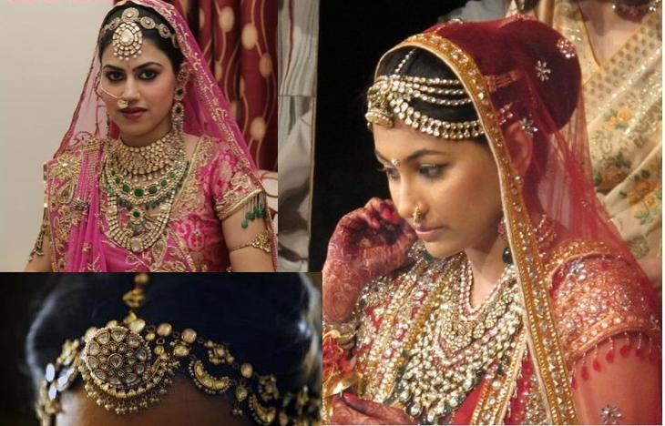Mehndi Bridal With Matha Patti : Orange and pinkk jewelery essentials jhoomar matha patti