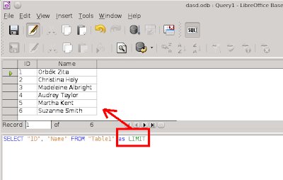Limit used as an table alias in SQL statement and Base return with all elements of the table without problem.