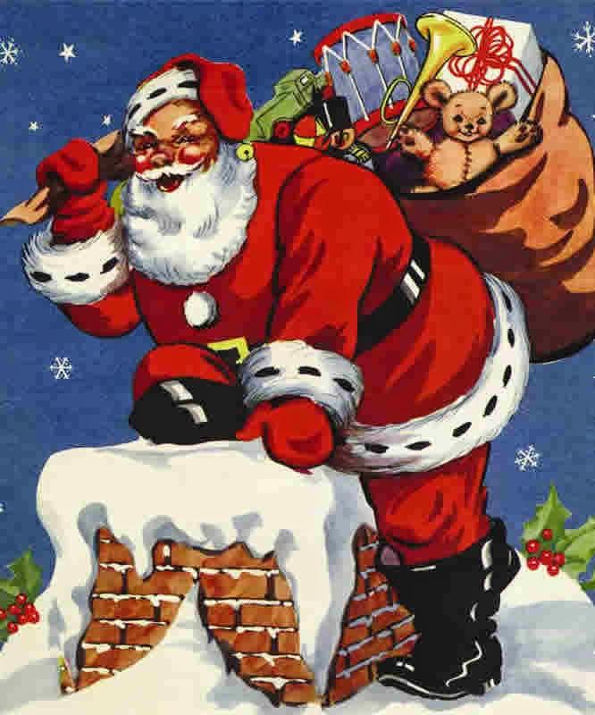 Santa climbing down chimneys