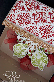 Stunning Christmas Ornament Decoration & Box by Bekka using Stampin' Up!'s Ornament Keepsake Stamp Set and the lovely Snow Flurry Die - you can buy everything you need to make this at www.feeling-crafty.co.uk