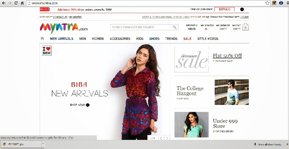 Myntra.com review Home screen