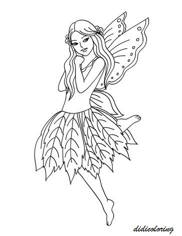 printable coloring pages of fairies - printable sweet little flower fairy didi coloring page