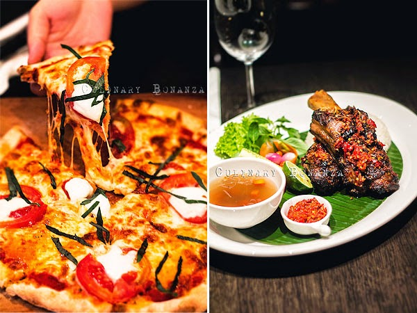 Left: Pizza Margherita | Right: Iga Bakar Bumbu Bali (Balinese Barbecued Ribs)