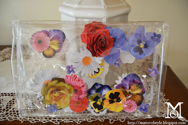 fashion diy,diy,bag diy,flower bag,spring 2013 bag,free bag pattern,clear clutch bag diy