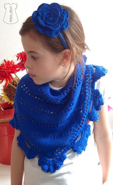 schal hecho en crochet azul, schal gehäkeln blau