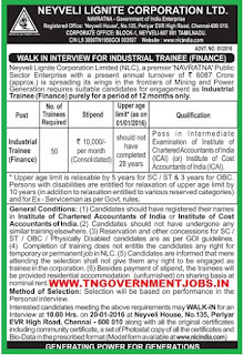 Applications are invited for Industrial Trainee in Finance Department Post in NLC WWW.TNGOVERNMENTJOBS.IN