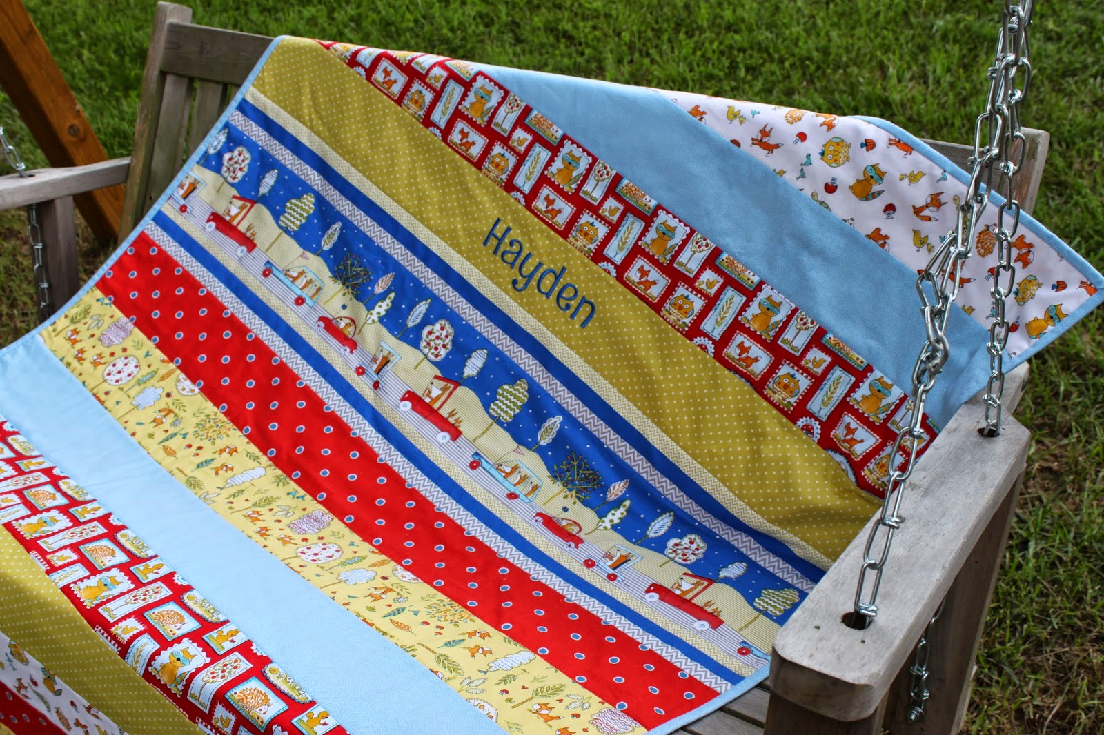 Fabric.com Fox Playground baby quilt